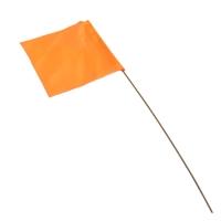 "Survey Flags, 2.5X3.5"", 21"" Stake, Vinyl Flag, GloOrange, Pk 10"""