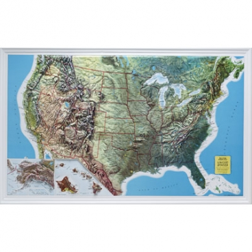Raised Relief Map, Usa. (Oversize).