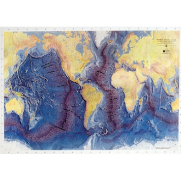 Raised Relief Map, Ocean Floor. (Oversize).