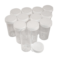Plastic Vials, Set of 12, Polystyrene, 5 Dram / 18.5mL