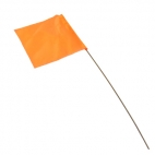 "Survey Flags, 2.5X3.5"", 21"" Stake, Vinyl Flag, GloOrange, Pk 10"""