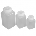 "Bottle, Widemouth PP Square 500mL. 3 x 3 x 6""."