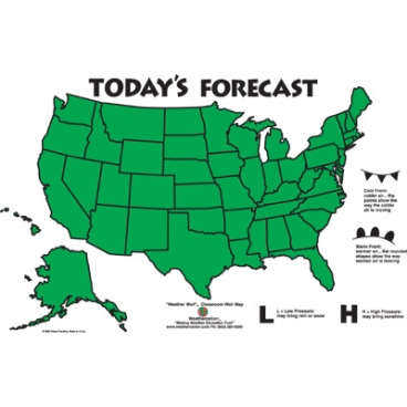 Classroom Weather Map, Usa. With Static Cling Symbols.