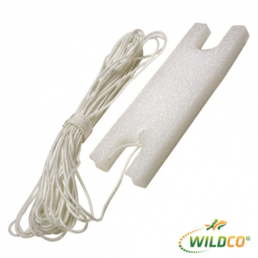 """Line Polyester 1/8"""" 20m with float  11.5 x 3 x 1.5""""."""
