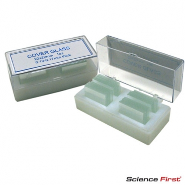 Microscope Cover Slips Square 22 x 22mm, pack of 100, Glass.