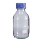 Clear Glass Media Bottle, 500ml, Grad, W/cap