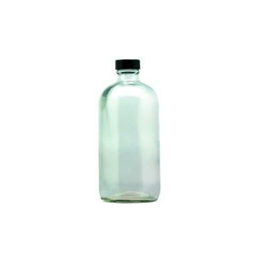Bottle,  Glass, 16oz/480ml, Round, Clear W/cap