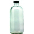 Bottle,  Glass, 8oz/240ml, Round, Clear W/cap**