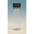 Glass Vial W/Black Rubber Lined Cap, 15ml, 12pk