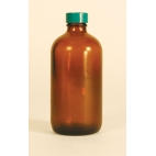 Amber Safety Coated Glass Bottle, 8oz/240ml
