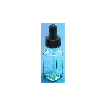 Dropping Bottle, Clear, French Square, 1oz/30ml