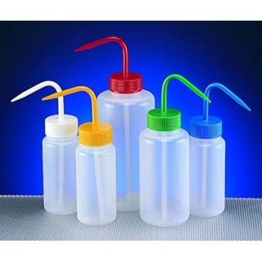 Wash Bottle, 500ml, Wide Mouth, Red Lid, LDPE