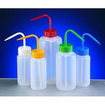 Wash Bottle, 250ml, Wide Mouth, Green Lid, LDPE
